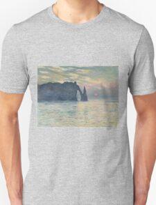 Claude Monet - The Cliff, Étretat,  Sunset  Impressionism Unisex T-Shirt