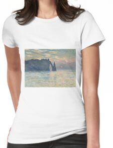 Claude Monet - The Cliff, Étretat,  Sunset  Impressionism Womens Fitted T-Shirt