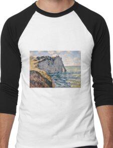 Claude Monet - The Cliff of Aval Etrétat, Impressionism Men's Baseball ¾ T-Shirt