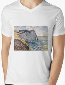 Claude Monet - The Cliff of Aval Etrétat, Impressionism Mens V-Neck T-Shirt