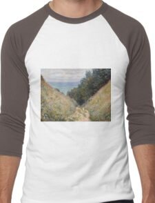 Claude Monet - Road at La Cavée  Pourville  Men's Baseball ¾ T-Shirt