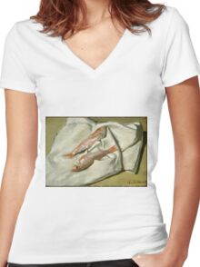 Claude Monet - Red Mullets,  Impressionism Women's Fitted V-Neck T-Shirt