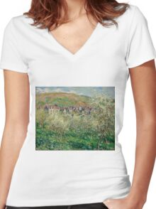 Claude Monet - Plum Trees in Blossom (1879) Impressionism Women's Fitted V-Neck T-Shirt