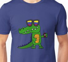Funny Cool Alligator with Mobile Phone and Sunglasses Unisex T-Shirt