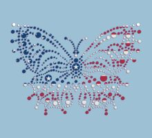 American Patriotic Dots Butterfly Flag  Kids Tee