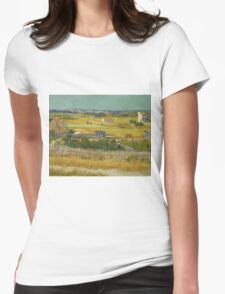 Vincent Van Gogh Post - Impressionism Oil Painting , The harvest, June 1888 - 1888 Womens Fitted T-Shirt