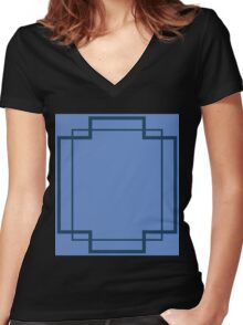 Regency Inlay in Lapis and Midnight Blue Women's Fitted V-Neck T-Shirt