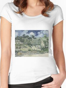 Vincent Van Gogh  Post- Impressionism Oil Painting , Thatched Cottages at Cordeville, 1890 Women's Fitted Scoop T-Shirt