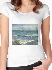 Vincent Van Gogh - Post- Impressionism Oil Painting , Seascape near Les Saintes-Maries-de-la-Mer, June 1888 - 1888 Women's Fitted Scoop T-Shirt