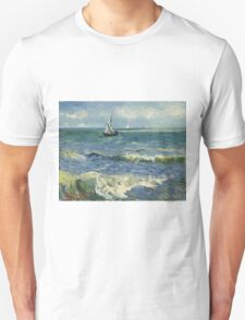 Vincent Van Gogh - Post- Impressionism Oil Painting , Seascape near Les Saintes-Maries-de-la-Mer, June 1888 - 1888 Unisex T-Shirt