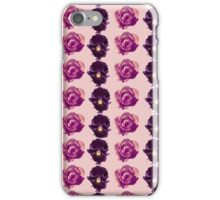 Purple and yellow pansies and roses pink background iPhone Case/Skin