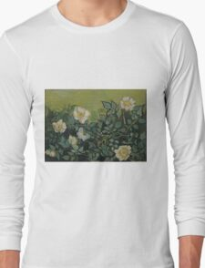 Vincent Van Gogh - Wild roses, Famous Painting. Impressionism. Van Gogh Long Sleeve T-Shirt