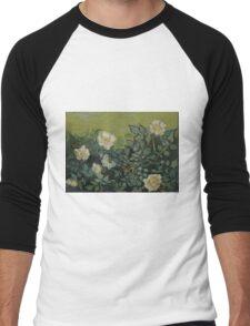 Vincent Van Gogh - Wild roses, Famous Painting. Impressionism. Van Gogh Men's Baseball ¾ T-Shirt