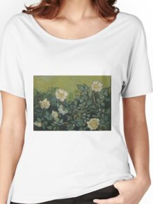 Vincent Van Gogh - Wild roses, Famous Painting. Impressionism. Van Gogh Women's Relaxed Fit T-Shirt