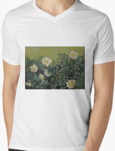 Vincent Van Gogh - Wild roses, Famous Painting. Impressionism. Van Gogh Mens V-Neck T-Shirt