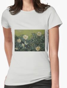 Vincent Van Gogh - Wild roses, Famous Painting. Impressionism. Van Gogh Womens Fitted T-Shirt