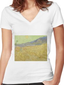 Vincent Van Gogh - Wheatfield with a reaper, Impressionism Van Gogh Women's Fitted V-Neck T-Shirt