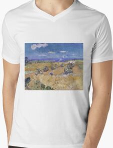 Vincent Van Gogh - Wheat Fields with Reaper, Auvers, Impressionism. - Wheat Fields with Reaper, Auvers, 1890. Famous Paintings. Impressionism. Mens V-Neck T-Shirt