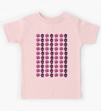 Purple and yellow pansies and roses pink background Kids Tee