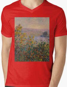 Claude Monet - Flower Beds at Vetheuil (1881) Mens V-Neck T-Shirt