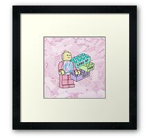 Lego grunge 90s 80s tumblr pastel toy 80s 90s youtube typography Framed Print