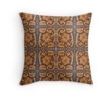 Tooled Leather Look, Brown Floral Design Throw Pillow
