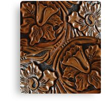 Tooled Leather Look, Dark Brown Floral Design Canvas Print