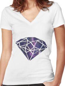 Galaxy Diamond Women's Fitted V-Neck T-Shirt