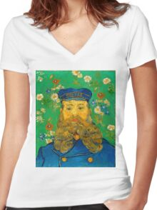 Vincent Van Gogh - Portrait of Joseph Roulin, 1889 Women's Fitted V-Neck T-Shirt
