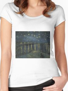 Vincent Van Gogh - Starry Night, Impressionism .Starry Night, 1888 Women's Fitted Scoop T-Shirt