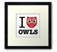 I love owls (glasses) Framed Print