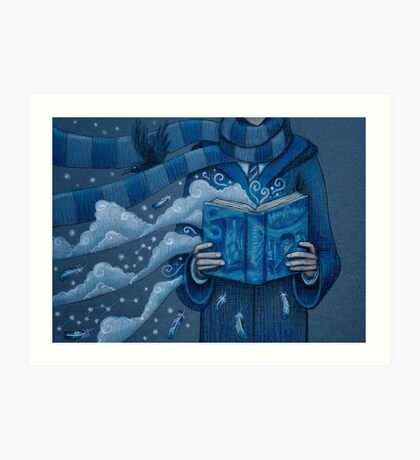 Books magic blue Art Print