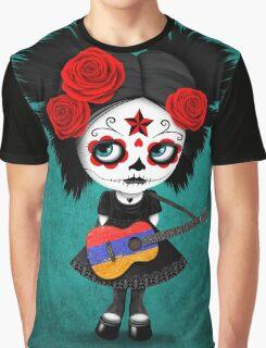 Sugar Skull Girl Playing Armenian Flag Guitar Graphic T-Shirt