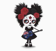 Sugar Skull Girl Playing Australian Flag Guitar Kids Tee
