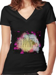HAPPINESS Women's Fitted V-Neck T-Shirt