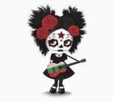 Sugar Skull Girl Playing Bulgarian Flag Guitar Kids Tee