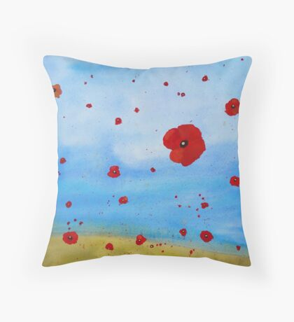 floating poppies Throw Pillow