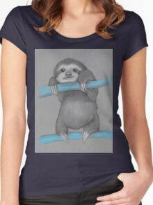 Cute adorable sloth illustration oil pastel Women's Fitted Scoop T-Shirt