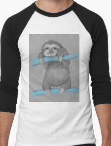 Cute adorable sloth illustration oil pastel Men's Baseball ¾ T-Shirt