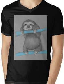 Cute adorable sloth illustration oil pastel Mens V-Neck T-Shirt