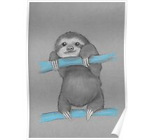 Cute adorable sloth illustration oil pastel Poster
