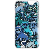 The Shiny Blue Monkey Pile Accepts the Odd Monkey Out iPhone Case/Skin