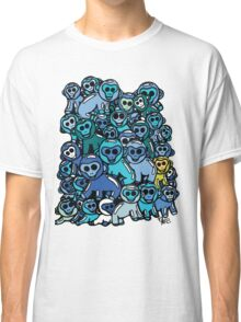 The Shiny Blue Monkey Pile Accepts the Odd Monkey Out Classic T-Shirt