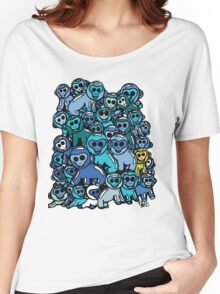 The Shiny Blue Monkey Pile Accepts the Odd Monkey Out Women's Relaxed Fit T-Shirt