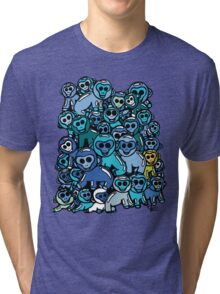 The Shiny Blue Monkey Pile Accepts the Odd Monkey Out Tri-blend T-Shirt