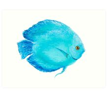 Tropical Turquoise Fish painting Art Print