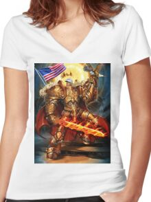 God Emperor Trump Women's Fitted V-Neck T-Shirt
