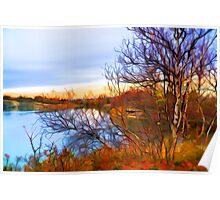 Late autumn at the lake Poster