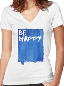 Be Happy Watercolor Blue Women's Fitted V-Neck T-Shirt