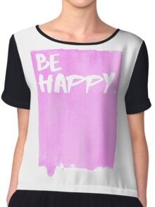 Be Happy Watercolor Pink Chiffon Top